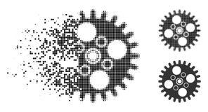 Polvere Dot Halftone Cogwheel Icon illustrazione vettoriale
