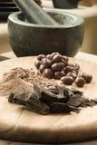 Polvere e fiocchi di Candy di cioccolato Fotografia Stock