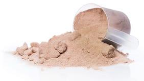 Polvere e mestolo della proteina Immagine Stock