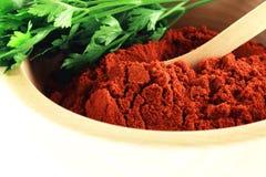 Polvere rossa della paprica con il primo piano del prezzemolo Immagine Stock Libera da Diritti