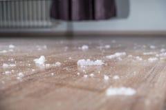 Polvere sul pavimento di legno Fotografie Stock Libere da Diritti