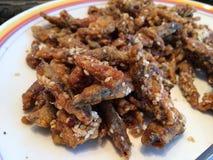 Polvilhe o alimento delicioso fritado sésamo da carne de porco feito fácil Foto de Stock