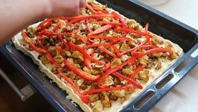 Polvilhe pimentas e tomates vermelhos de sino da placa caseiro da pizza filme