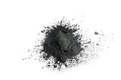 Polvo activado del carbón de leña tirado con la lente macra Foto de archivo libre de regalías