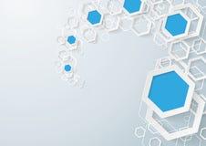 Polvo blanco y azul de los hexágonos Fotos de archivo