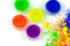 Polvo coloreado natural del pigmento Endecha plana fotografía de archivo libre de regalías