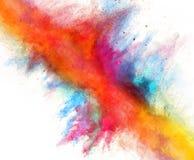 Polvo colorido lanzado en el fondo blanco Fotografía de archivo libre de regalías