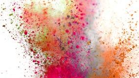 Polvo colorido que estalla en el fondo blanco en la c?mara lenta estupenda ilustración del vector