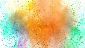 Polvo colorido que estalla en el fondo blanco en la c?mara lenta estupenda stock de ilustración
