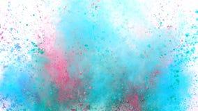 Polvo colorido que estalla en el fondo blanco en la c?mara lenta estupenda almacen de video