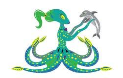 Polvo da mulher e golfinho do bebê. ilustração do vetor