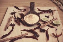 Polvo de aderezo en la cuchara de madera adornada con la cal, cinnam fotos de archivo