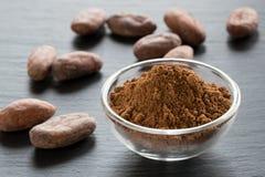 Polvo de cacao sin tostar y semillas crudas del cacao Fotografía de archivo libre de regalías