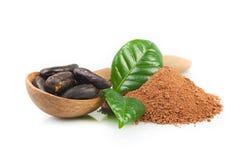 Polvo de cacao y granos de cacao Fotos de archivo libres de regalías