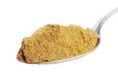 Polvo de curry en la cuchara Imagen de archivo libre de regalías