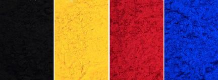 Polvo de tinta de Cmyk y x28; ciánico, magenta, amarillo, black& x29; Imagen de archivo libre de regalías