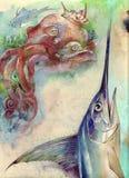 Polvo e swordfish ilustração stock
