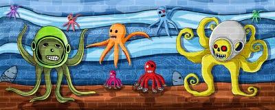 Polvo na pintura da parede de mar ilustração do vetor