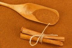 Polvo, palillos y cucharada del canela Imágenes de archivo libres de regalías