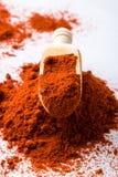 Polvo rojo de la paprika Foto de archivo