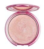 Polvo rosado del maquillaje en rectángulo plástico Imagen de archivo libre de regalías