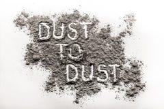 Polvo a sacar el polvo escrito en polvo Foto de archivo