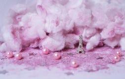 polvo Tulle de la decoración de la boda del brillo de la torre Eiffel de las nubes del rosa Imagen de archivo
