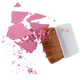 Polvo y cepillo cosméticos Imagen de archivo libre de regalías