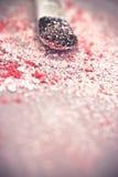 Polvo y cepillo rosados del sombreador de ojos Fotografía de archivo