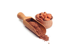 Polvo y habas de cacao Foto de archivo