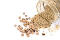 Polvo y semilla de la pimienta blanca Imagen de archivo libre de regalías