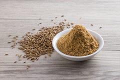 Polvo y semillas del comino Fotografía de archivo libre de regalías