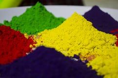 Polvos coloridos de Holi Imagen de archivo libre de regalías