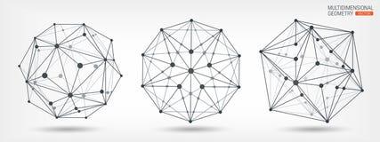 Polyèdres Cadre transparent des formes complexes Formes géométriques abrégez le fond Lignes et points La géométrie multidimension