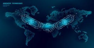 Poly aff?rsid? f?r handskakning f?r Blockchain teknologi?verenskommelse l?gt Polygonal punktlinje geometrisk design Handkedja royaltyfri illustrationer