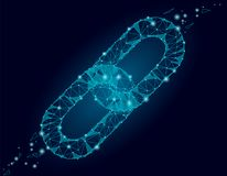 Poly design för Blockchain sammanlänkningstecken lågt Affär för säkerhet för hyperlink för triangel för symbol för internetteknol Royaltyfri Fotografi