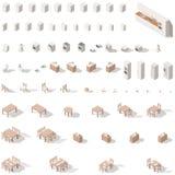 Poly isometrisk symbolsuppsättning för kök och för badrum lågt Fotografering för Bildbyråer