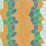 Poly orange and green vector seamless pattern. For web, social, wrapping, craft Stock Images