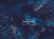 Poly polygon dark blue backgrounds fabricate with connecting points and lines. Structure of the science connection. meaningful. Business. Geometric Polygonal royalty free illustration