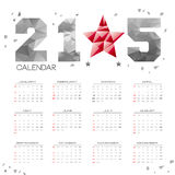 POLY Simple 2015 Calendar. Simple 2015 Calendar / 2015 calendar design / 2015 calendar vertical - week starts with sunday Stock Illustration