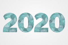poly symbole du vecteur 2020 Illustration abstraite de triangle de bonne année Icône géométrique bleue décorative illustration stock