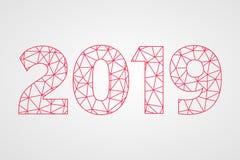 poly symbole du vecteur 2019 Illustration abstraite de triangle de bonne année Icône géométrique rouge illustration libre de droits