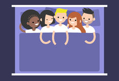 Polyamory conceptual illustration. A group of young people lying Royalty Free Stock Image