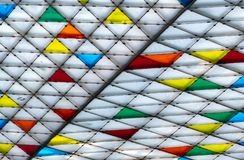 Free Polycarbonate Roof. Awning Of Building. Colorful Plastic Roof With Modern Pattern. Triangle Polycarbonate Sheet Decorate Canopy. Royalty Free Stock Photography - 164340927