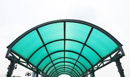 Polycarbonate roof. Roof blue polycaebonate prevent sun and rain stock images