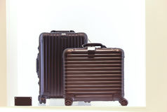 Polycarbonate suitcases. Travel luggage made of polycarbonate on display for sale Royalty Free Stock Images