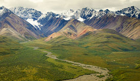 At Polychrome Pass. View of the Alaska Range from Polychrome Pass in Denali National Park Royalty Free Stock Images