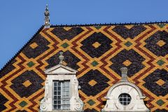 Polychrome roof of the Hospices de Beaune in Burgundy Royalty Free Stock Photo