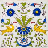 Polychrome Tile. An antique Dutch Delft polychrome tin glazed tile dating circa 1800 Stock Photo