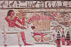 Polychromed Egyptian relief Royalty Free Stock Images